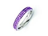 Chisel Stainless Steel 4mm Polished Light Purple Crystal Ring style: SR263