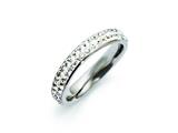Chisel Stainless Steel 4mm Polished Crystal Wavy Ring style: SR264