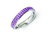 Chisel Stainless Steel 4mm Polished Light Purple Crystal Wavy Ring style: SR265