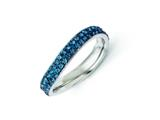 Chisel Stainless Steel 4mm Polished Blue Crystal Wavy Ring style: SR266