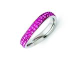 Chisel Stainless Steel 4mm Polished Pink Crystal Ring style: SR267