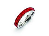 Chisel Stainless Steel 4mm Polished Red Crystal Ring style: SR268