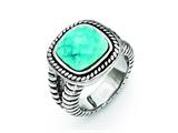 Chisel Stainless Steel Antiqued Imitation Turquoise Ring style: SR270