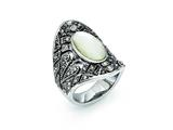 Chisel Stainless Steel Antiqued Crystal And Mother Of Pearl Ring style: SR271