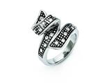 Chisel Stainless Steel Crystal Antiqued Swirl Ring style: SR273