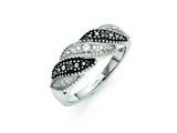 Chisel Stainless Steel Black And Clear CZ Ring style: SR274