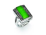 Chisel Stainless Steel Simulated Jade Antiqued Rectangular Ring style: SR275
