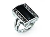 Chisel Stainless Steel Black Onyx Antiqued Rectangular Ring style: SR276