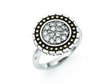 Chisel Stainless Steel CZ With Yellow Ip-plated Accent Antiqued Ring style: SR278