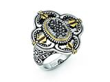 Chisel Stainless Steel Blue Glass With Yellow Ip-plated Accent Antiqued Ring style: SR279