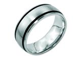 Chisel Stainless Steel Black Rubber 8mm Brushed Weeding Band style: SR27