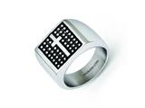 Chisel Stainless Steel Antiqued Cross Polished Ring style: SR281