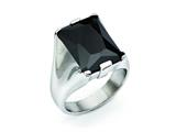 Chisel Stainless Steel Black CZ Polished Ring style: SR282
