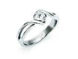 Chisel Stainless Steel Polished Round CZ Ring style: SR288