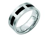Chisel Stainless Steel Black Rubber Flat 8mm Brushed Weeding Band style: SR28