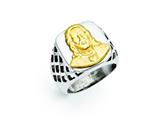 Chisel Stainless Steel Yellow Ip-plated Jesus Polished Ring style: SR299