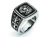 Chisel Stainless Steel Antiqued Lion Ring style: SR300