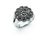 Chisel Stainless Steel Textured Flower Marcasite Ring style: SR305