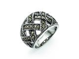 Chisel Stainless Steel Textured Marcasite Ring style: SR306