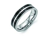 Chisel Stainless Steel 6mm Double Row Black Carbon Fiber Inlay Polished Weeding Band style: SR337