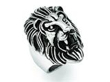 Chisel Stainless Steel Polished And Antiqued Lion Ring style: SR343
