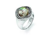 Chisel Stainless Steel Antiqued And Polished Synthetic Abalone Ring style: SR356