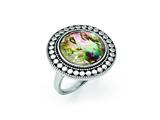 Chisel Stainless Steel Polished And Antiqued Synthetic Abalone Ring style: SR360