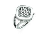 Chisel Stainless Steel Polished CZ Square Ring style: SR365