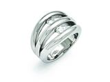 Chisel Stainless Steel Polished CZ Ring style: SR368