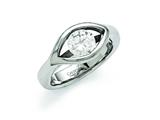 Chisel Stainless Steel Polished CZ Ring style: SR369