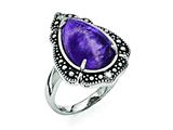 Chisel Stainless Steel Polished/antiqued Amethyst Teardrop Polished Ring style: SR372