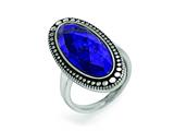 Chisel Stainless Steel Polished And Antiqued Blue Lapis Ring style: SR374