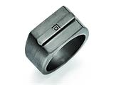 Chisel Stainless Steel Antiqued Brushed W/black CZ Ring style: SR381