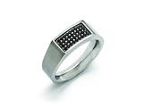 Chisel Stainless Steel Polished And Brushed Black CZ Ring style: SR396