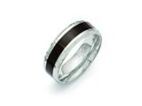 Chisel Stainless Steel Polished Black Wood Inlay Enameled 8.00mm Ring style: SR404