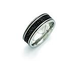 Chisel Stainless Steel Polished Black Ip-plated/genuine Stingray Textured Ring style: SR405