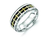 Chisel Stainless Steel Polished Carbon Fiber/yellow Ip-plated Crosses Ring style: SR406