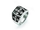 Chisel Stainless Steel Polished And Antiqued Cross Ring style: SR418