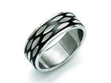 Chisel Stainless Steel Polished Black Ip-plated 8mm Grooved Ring style: SR420