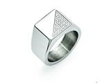 Chisel Stainless Steel Polished With Crystals Ring style: SR423