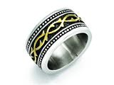Chisel Stainless Steel Antiqued And Yellow Ip-plated 13.25mm Ring style: SR424