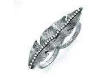 Chisel Stainless Steel Polishedandantiqued Leaf Two Finger 6/7 Crystal Ring style: SR427