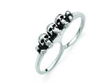 Chisel Stainless Steel Polished and Antiqued Two Finger 6/7 Skulls Ring style: SR428