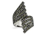 Chisel Stainless Steel Polished And Antiqued Marcasite Ring style: SR429