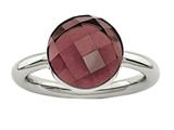 Chisel Stainless Steel Polished Maroon Glass Ring style: SR434