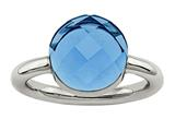 Chisel Stainless Steel Polished Blue Glass Ring style: SR436