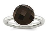 Chisel Stainless Steel Polished Dark Brown Glass Ring style: SR437