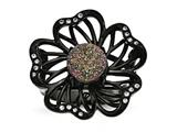 Chisel Stainless Steel Polished Black Ip-plated Druzy And Crystal Ring style: SR442
