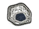 Chisel Stainless Steel Polished Druzy And Crystal Ring style: SR444