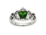 Chisel Stainless Steel Polsihed W/ Green Heart CZ Claddagh Ring style: SR448